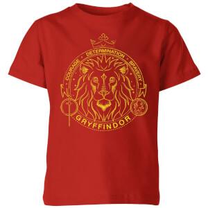 Harry Potter Gryffindor Lion Badge kinder t-shirt - Rood