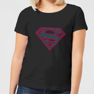 Justice League Superman Retro Grid Logo Women's T-Shirt - Black