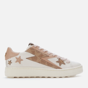 Coach Women's C101 Glam Rock Leather Low Top Trainers - Chalk/Pale Blush