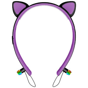Live Love Music Light Up Cat LED Bluethooth Headphones - Purple