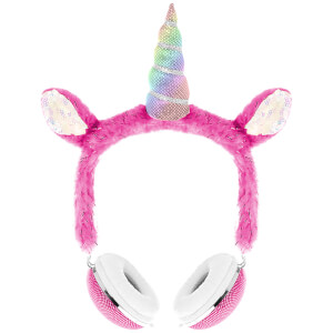 Live Love Music Unicorn Plush Headphones - Pink