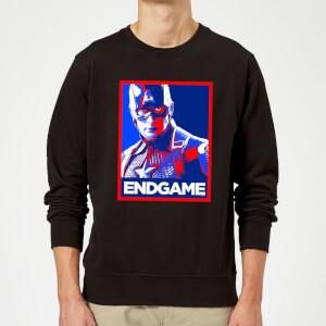 Avengers Endgame Captain America Poster Sweatshirt - Black