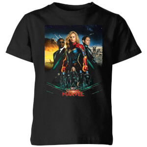Captain Marvel Movie Starforce Poster Kids' T-Shirt - Black