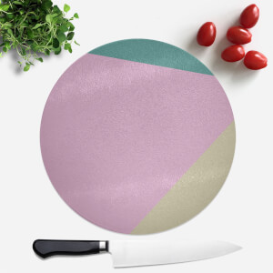 Pink And Green Pattern Round Chopping Board