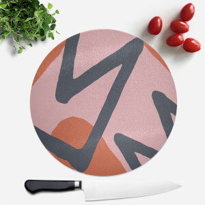 Pink Red Blue Pattern Round Chopping Board