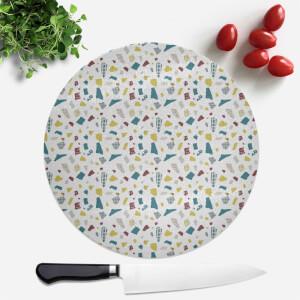 Green Terrazzo Pattern Round Chopping Board
