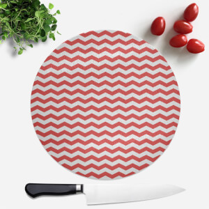Red Zig Zag Round Chopping Board
