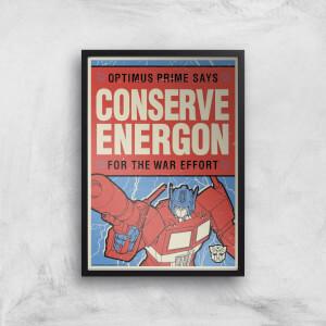 Transformers Conserve Energon Poster Art Print
