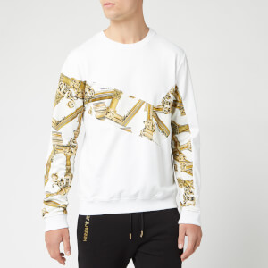 Versace Jeans Men's Long Sleeve Printed Top - Bianco Ottico