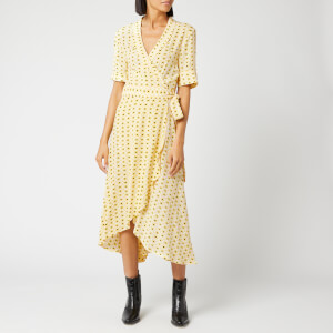Ganni Women's Printed Crepe Dress - Maize