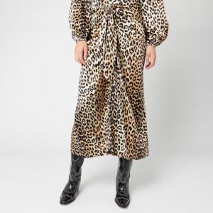 Ganni Women's Silk Stretch Satin Skirt - Leopard