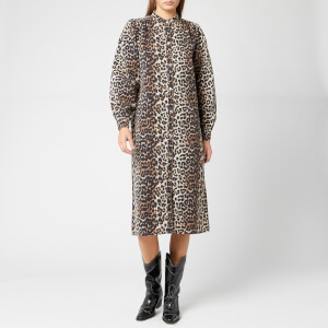 Ganni Women's Printed Shirt Dress - Leopard