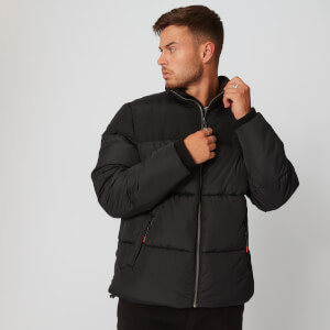 Double Panel Puffer Jacket - Black