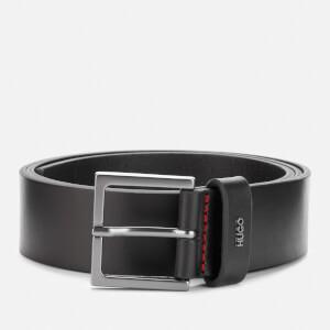 HUGO Men's Giove Logo Tab Leather Belt - Black