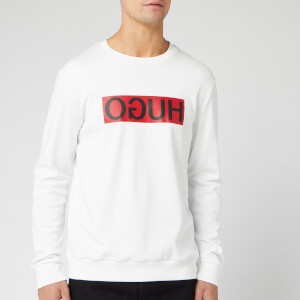 HUGO Men's Dicago Reverse Logo Sweatshirt - White/Red