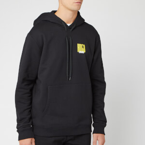HUGO Men's Darvin Chevron Back Print Hoodie - Black/Yellow