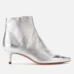 Isabel Marant Women's Durfee Metallic Low Heel Ankle Boots - Silver