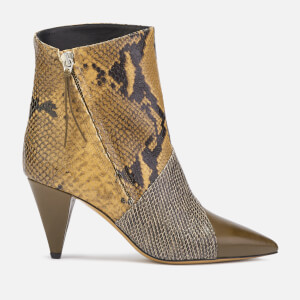 Isabel Marant Women's Latts Exotic Patchwork Ankle Boots - Taupe/Camel