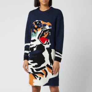 KENZO Women's Wool Big Tiger Head Intarsia Dress - Navy