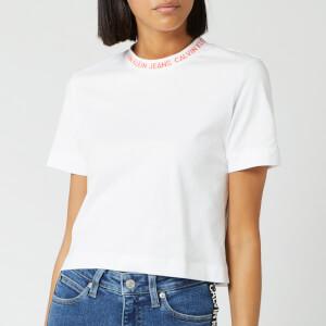 Calvin Klein Jeans Women's Neck Logo Crop T-Shirt - Bright White