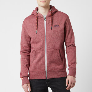 Superdry Men's Orange Label Zip Hoody - Darkest Red Feeder Stripe