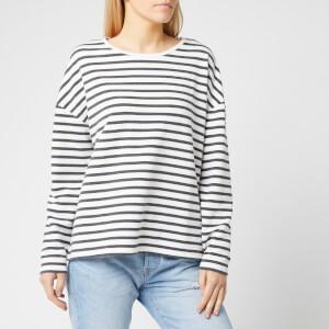 Superdry Women's Ashby Stripe Long Sleeve Top - Charcoal Marl/Chlak Stripe