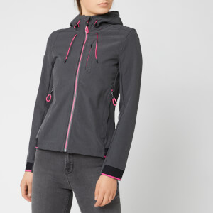 Superdry Women's Nu Hooded Sd-Windtrekker - Dark Charcoal/Fluro Cherry