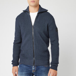 BOSS Men's Kamurly Zip Knit Jumper - Navy