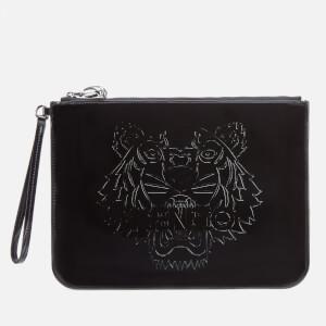 KENZO Women's Patent Tiger A4 Pouch - Black