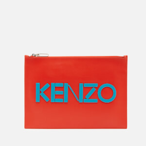 KENZO Women's Leather Kenzo Logo A4 Pouch - Red