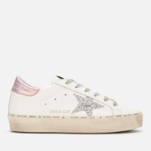 Golden Goose Deluxe Brand Women's Hi Star Leather Flatform Trainers - White/Pink Laminated/Silver Glitter Star