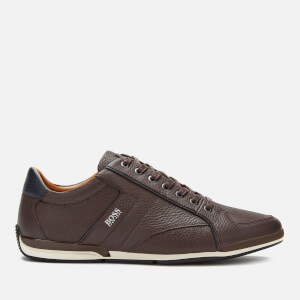BOSS Men's Saturn Grainy Leather Low Profile Trainers - Brown