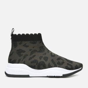 Ted Baker Women's Waverli Leopard Knitted Sock Trainers - Black