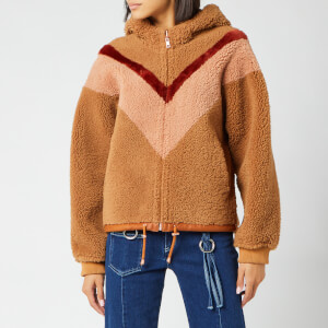 See By Chloé Women's Zip Up Shearling Hoodie - Beige/Orange