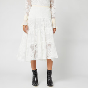 See By Chloé Women's Lace Detail Midi Skirt - Iconic Milk