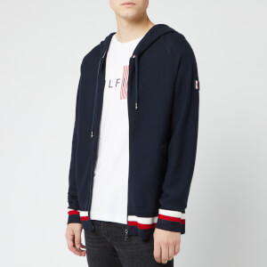 Tommy Hilfiger Men's Structured Branded Zip Hoodie - Sky Captain