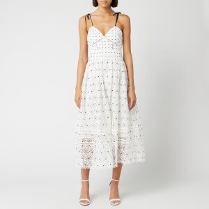Self-Portrait Women's Hibiscus Floral Guipure Midi Dress - Ivory