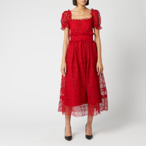 Self-Portrait Women's Short Sleeve Hibiscus Guipure Dress - Red