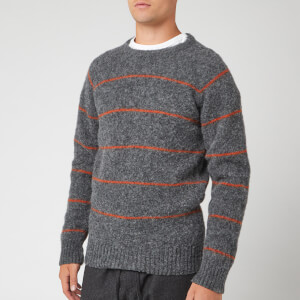 YMC Men's Everyman Striped Crew Jumper - Charcoal/Rust
