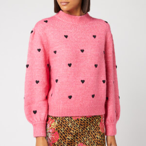 RIXO Women's Ariana Heart Knitted Jumper - Pink