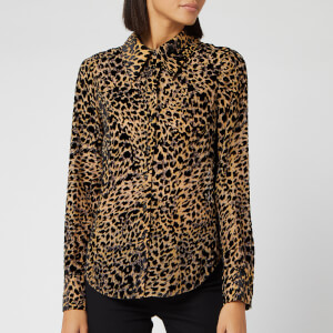 RIXO Women's Andrea Leopard Burnout Blouse - Multi
