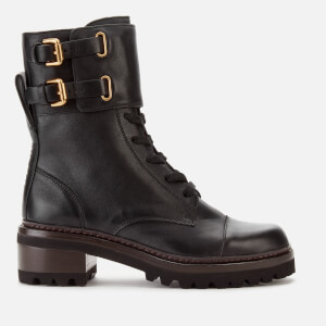 See By Chloé Women's Leather Lace Up Military Boots - Nero