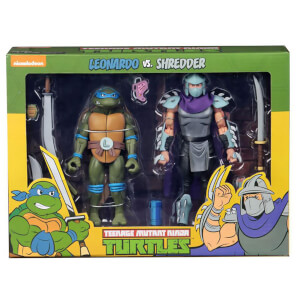 "NECA Teenage Mutant Ninja Turtles 7"" Scale Action Figure Target Exclusive Leonardo Vs Shredder 2 Pack"