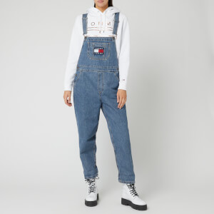 Tommy Jeans Women's Regular Straight Dungaree TJF - Tj Flag Mid Bl Rig