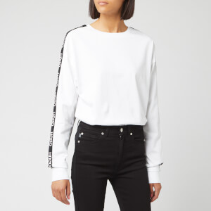HUGO Women's Doplia Logo Tape Sweat - White