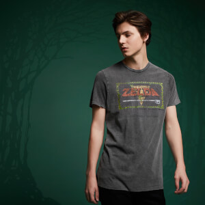 Legend Of Zelda Retro Title Screen T-Shirt - Black Acid Wash