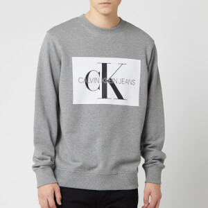 Calvin Klein Jeans Men's Flock Monogram Sweatshirt - Heather Grey