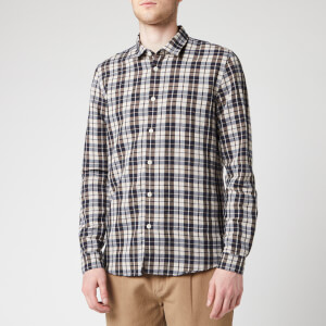 Folk Men's Checked Shirt - Navy Ecru Plaid