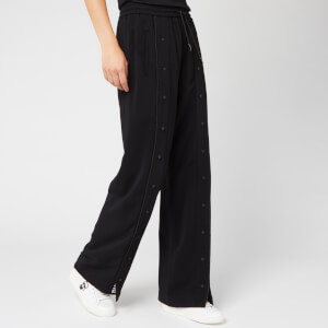 Karl Lagerfeld Women's Wide Leg Snap Pants with Logo - Black