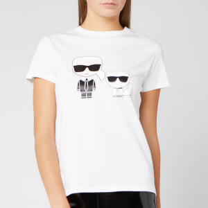 Karl Lagerfeld Women's Ikonik Karl and Choupette T-Shirt - White